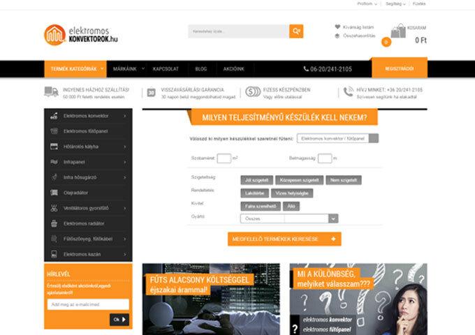 elektromoskonvektorok.hu webáruház készítés